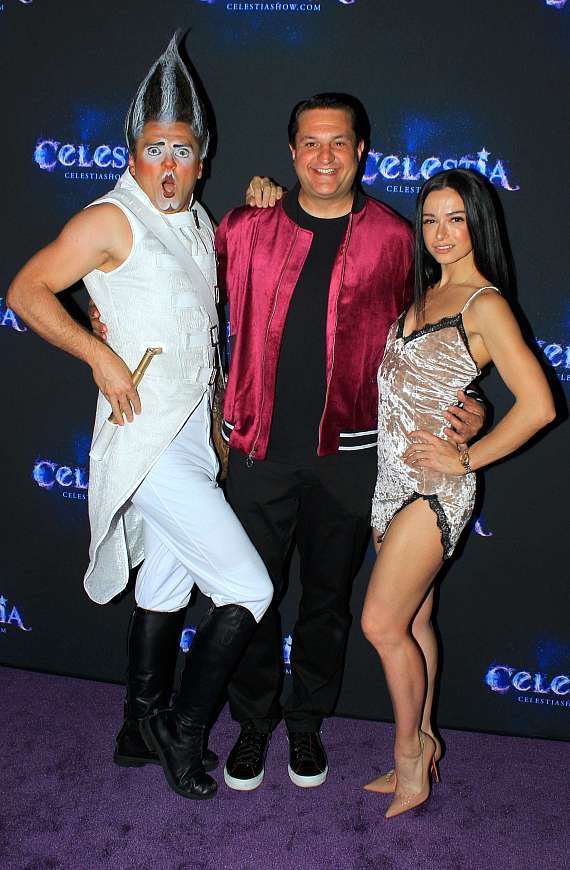 """Cast member of """"Celestia"""" with Magician Douglas """"Lefty"""" Leferovich and Emily England of Emily and Billy England"""