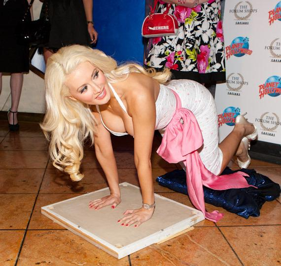 Holly Madison's handprints and signature were captured in cement at Planet Hollywood