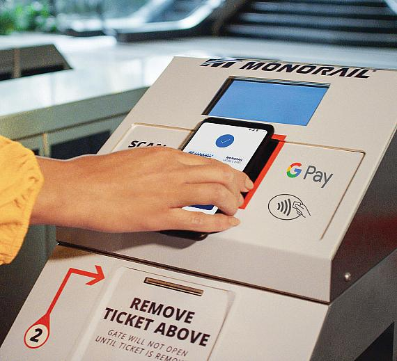 Simply tap your phone on the fare gate and ride the Monorail