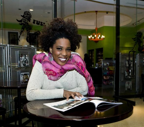 Recording artist Macy Gray in front of Fuel