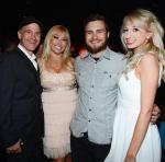 Tom Recine (L), Tanya Popovich (2nd from L) and Gia Garafalo (R) attend 1923 Bourbon & Burlesque grand opening at Mandalay Bay