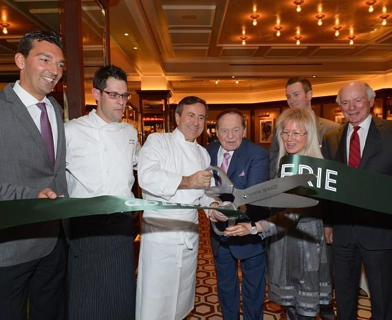 Vice President of Food & Beverage for The Venetian and The Palazzo Sebastien Silvestri, Chef David Middleton of db Brasserie, Chef Daniel Boulud, Chairman and CEO of Las Vegas Sands Corporation Sheldon Adelson, Dr. Miriam Adelson, db Brasserie General Manager Chris Eagle (back) and President and COO of Las Vegas Sands Corporation Michael Levin