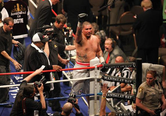 Chris Arreola after his four-round knockout of Jameel McCline at the Mandalay Bay Events Center