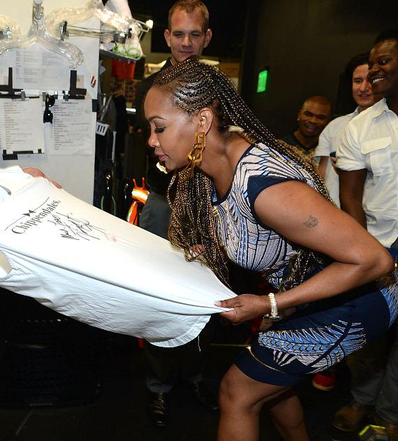Vivica Fox backstage at Chippendales at The Rio All-Suite Hotel and Casino in Las Vegas