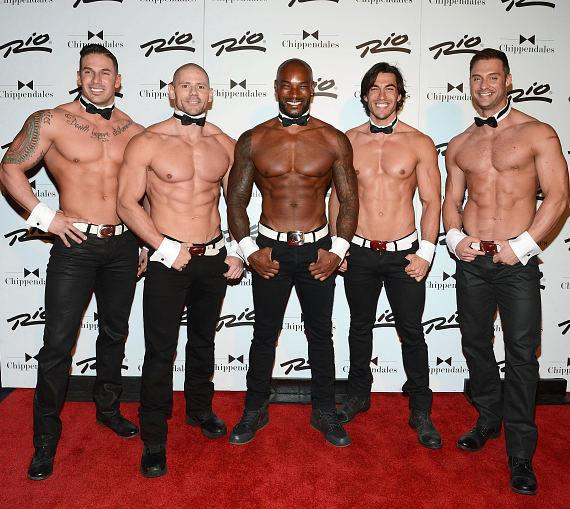 Tyson Beckford poses for photos with Chippendales at the Rio All-Suite Hotel and Casino in Las Vegas