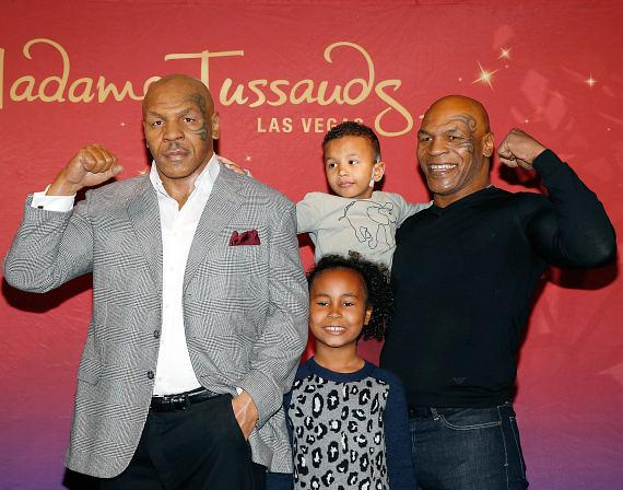 Mike Tyson and kids at Madame Tussauds Wax Museum in Las Vegas