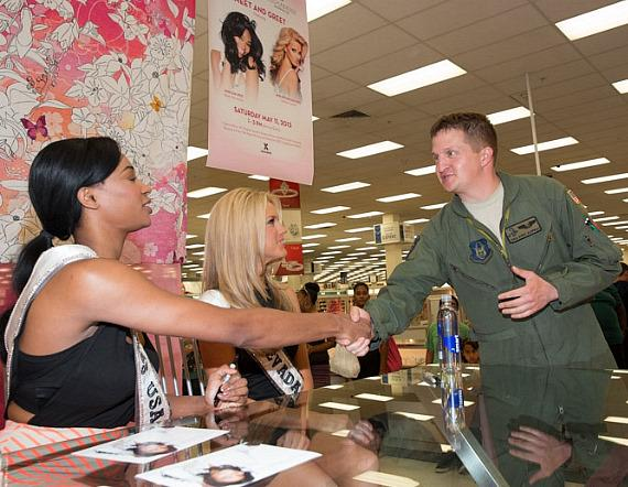 Miss USA 2013 Nana Meriwether and Miss Nevada USA 2013 Chelsea Caswell meet the troops at Nellis Air Force Base