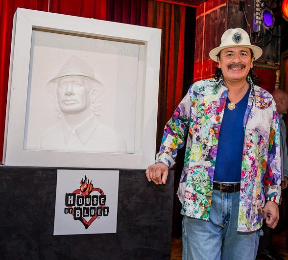 "Carlos Santana Honored with ""Bas Relief"" Portrait/Sculpture at House of Blues Las Vegas"