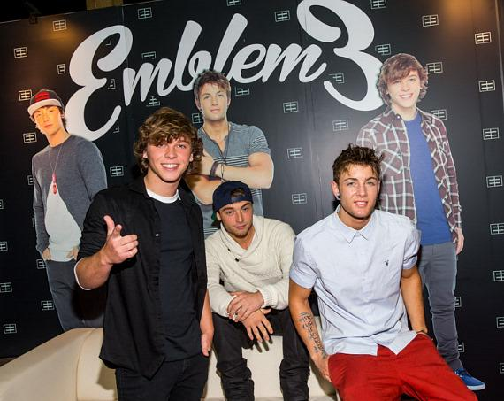 Emblem3 (brothers Keaton and Wesley Stromberg and friend Drew Chadwick) at Licensing Expo in Las Vegas