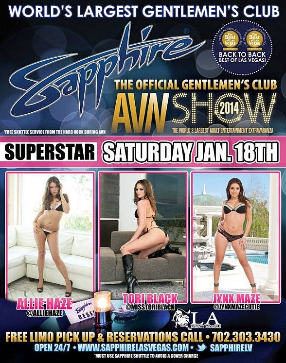 Allie Haze, Tori Black and Jynx Maze to Host Official AVN After Party at Sapphire Las Vegas on Jan. 18