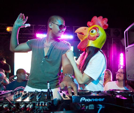 Afrojack and Steve Aoki (with chicken mask)