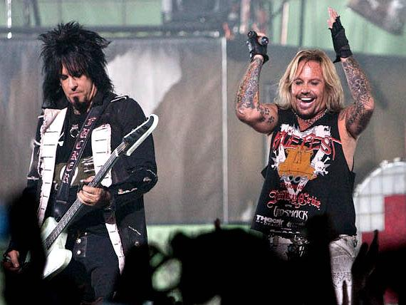 Nikki Sixx and Vince Neil on stage at The Joint