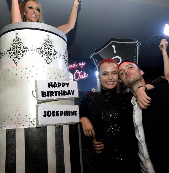 Model Josephine Skriver (L) and singer/songwriter Alexander DeLeon celebrate Skriver's birthday at 1 OAK Nightclub at The Mirage Hotel & Casino