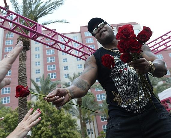 Flo Rida hands out roses at The Flamingo GO Pool in Las Vegas