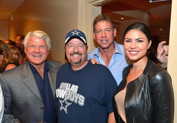 Television personality & former National Football League head coach Jimmy Johnson, comic ventriloquist & impressionist Terry Fator, television personality & former National Football League player Troy Aikman and model/performer Taylor Makakoa appear backstage at the 'Terry Bradshaw: America's Favorite Dumb Blonde... A Life in Four Quarters' show premier at The Mirage Hotel & Casino