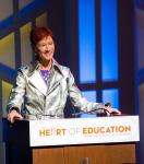 Beverly Rogers welcomes guests at 2017 Heart of Education Awards, April 29