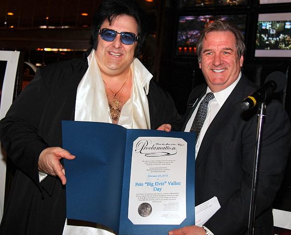 Big Elvis receives Proclamation from Rick Mazer, Regional President of Bill's Gamblin' Hall & Saloon