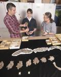 Jonathan Bloch of the Florida Museum of Natural History and students study fossils