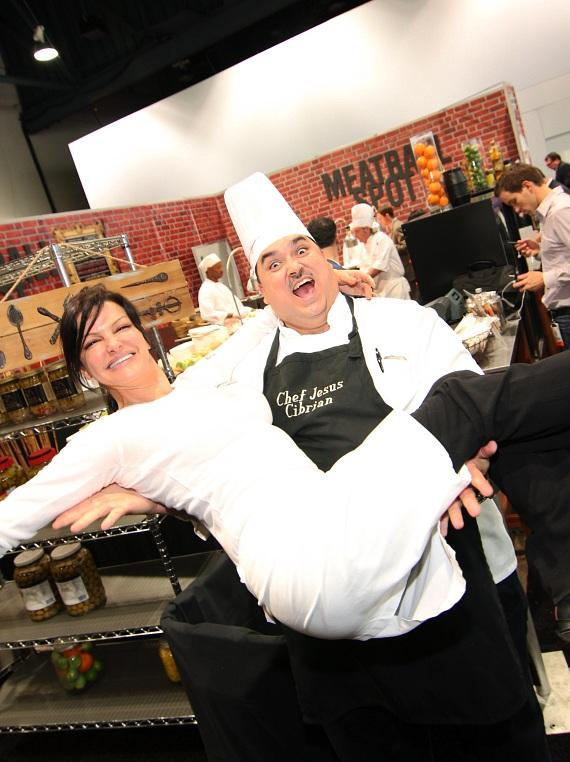 Chefs Carla Pellegrino and Jesus Cibrian having fun at Meatball Spot's Pop-up at the Consumer Electronics Show
