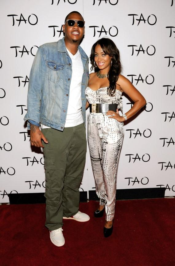Carmelo and La La Anthony on TAO red carpet