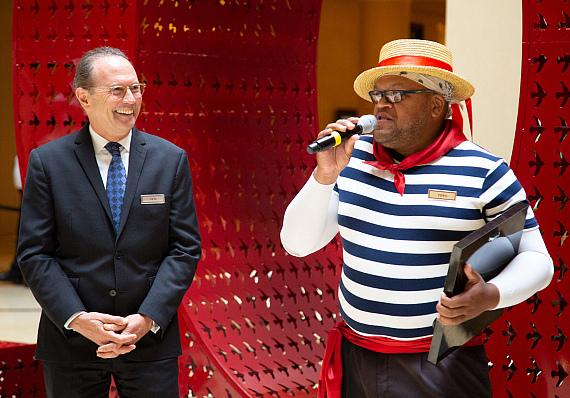 Pete Boyd, senior vice president of operations for The Venetian and Palazzo with Carnell 'Golden Pipes' Johnson
