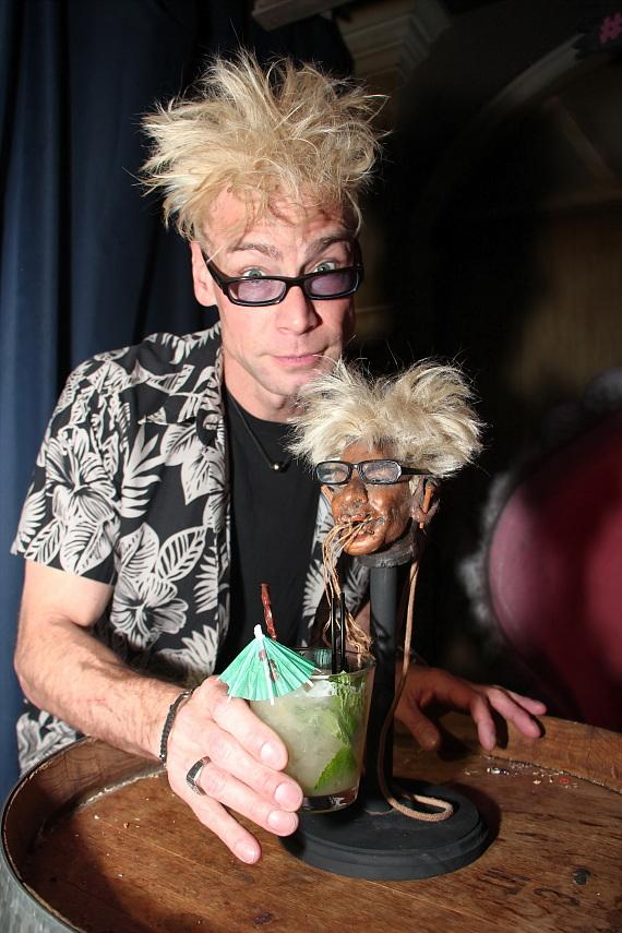 Cheers! Murray Sawchuck with his shrunken head at The Golden Tiki