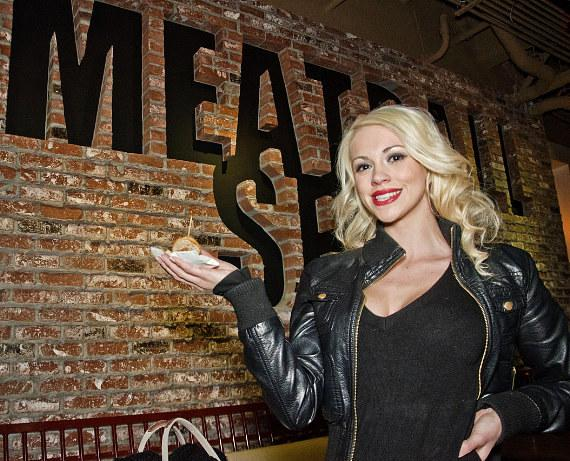 Chef Carla Pellegrino, Murray SawChuck and Chloe Louise Crawford at Meatball Spot Grand Opening
