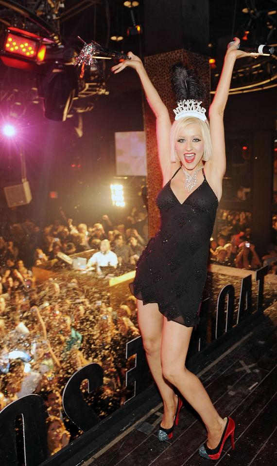 Christina ringing in the new year at TAO at the Venetian's New Year's Eve celebration