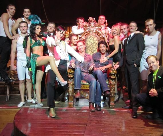 Colin Cunningham and Peter Shinkoda with cast of Absinthe