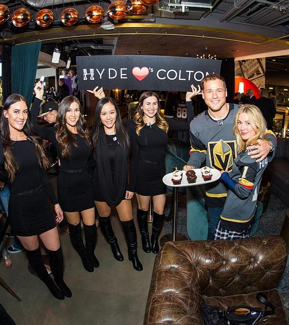 Colton Underwood and Cassie Randolph with Cupcakes at Hyde Lounge at T-Mobile Arena