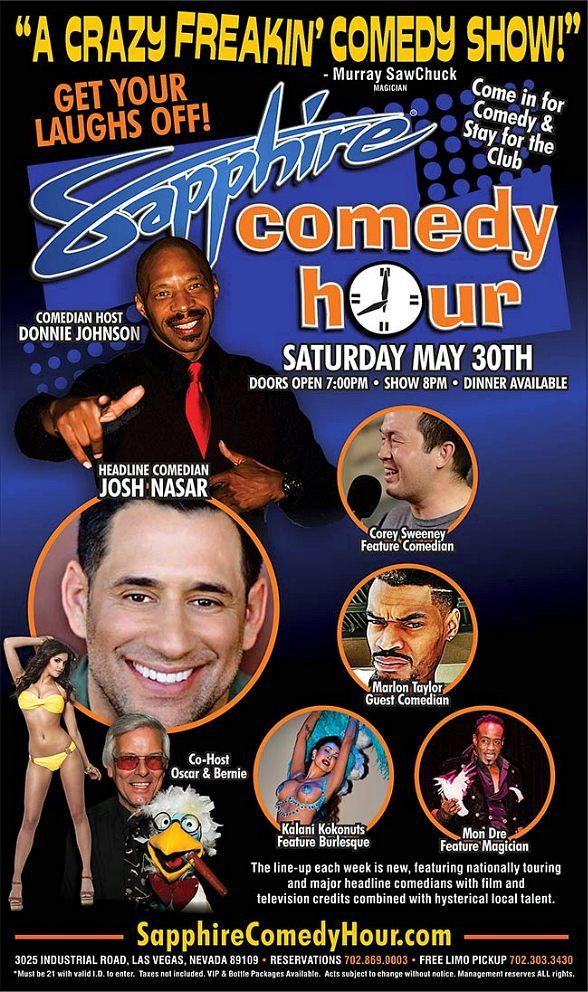 Comedian Josh Nasar to Headline Sapphire Comedy Hour, Saturday May 30