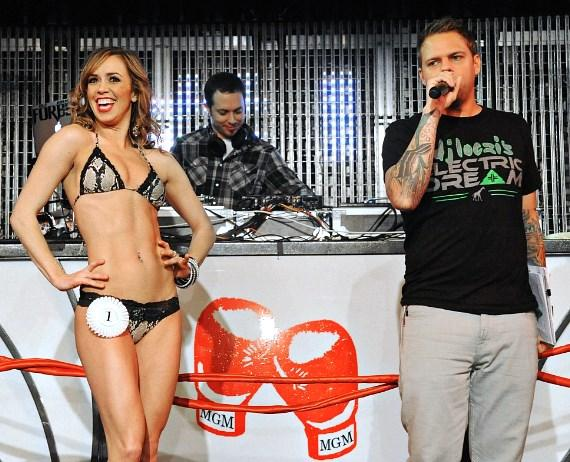 DJ Loczi and Miss Knockout Contestant on stage at Studio 54 Las Vegas