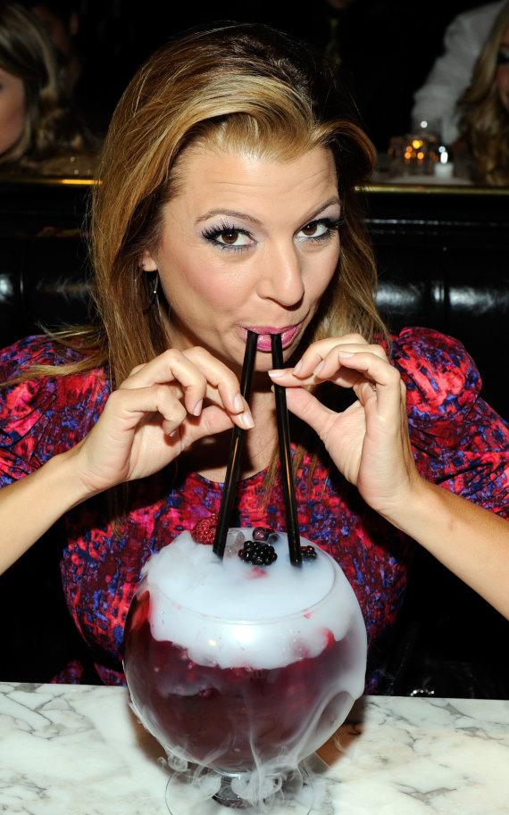 Dana Wilkey sips on Berry Bliss Goblet at Sugar Factory