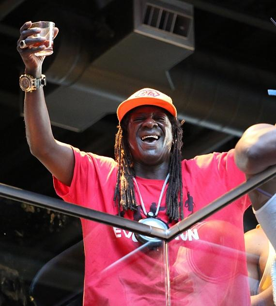 Flavor Flav watches the game at Topgolf Las Vegas