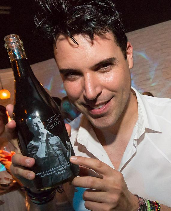 Frankie Moreno with his branded wine