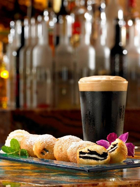 Fried Oreos paired with Young's Double Chocolate Stout