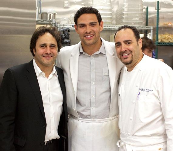 Palms Owner George Maloof, NY Jets athlete Mark Sanchez and Executive Chef Barry S. Dakake in the kitchen at N9NE Steakhouse