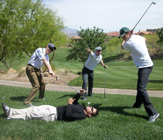 The boys goofing around before teeing off: Jeff Leibow, Deven May (laying), Travis Cloer, Peter Saide