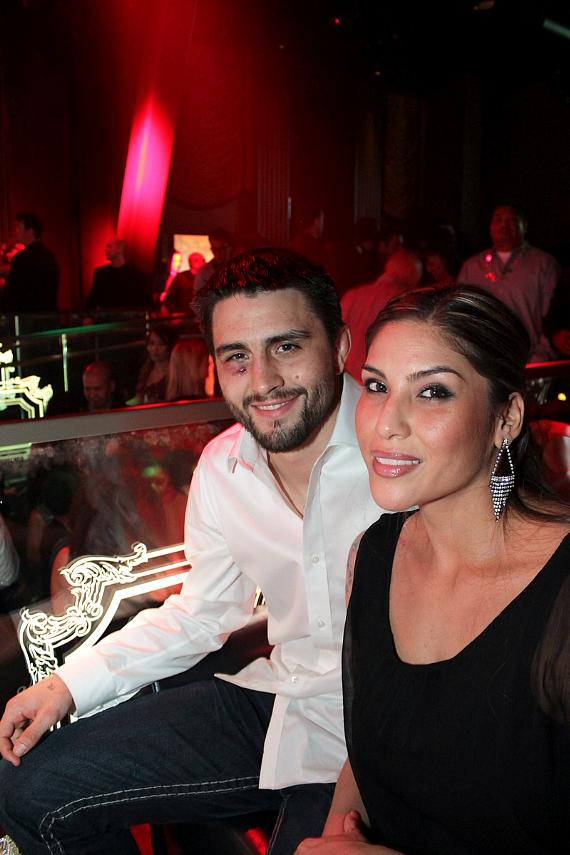UFC Welterweight Champion Carlos Condit and wife Seager McCullah celebrate his win at Chateau Nightclub & Gardens inside Paris Las Vegas