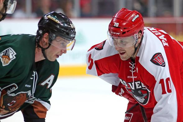Wranglers' captain Geoff Paukovich faces off against former Wrangler Channing Boe in Saturday's 5-1 loss