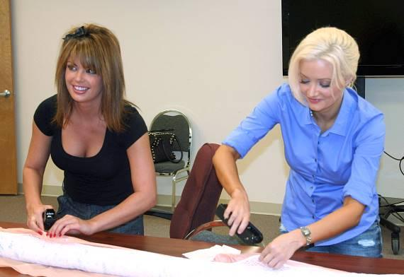 Laura Croft and Holly Madison oliophilic film/sheeting to absorbent boom