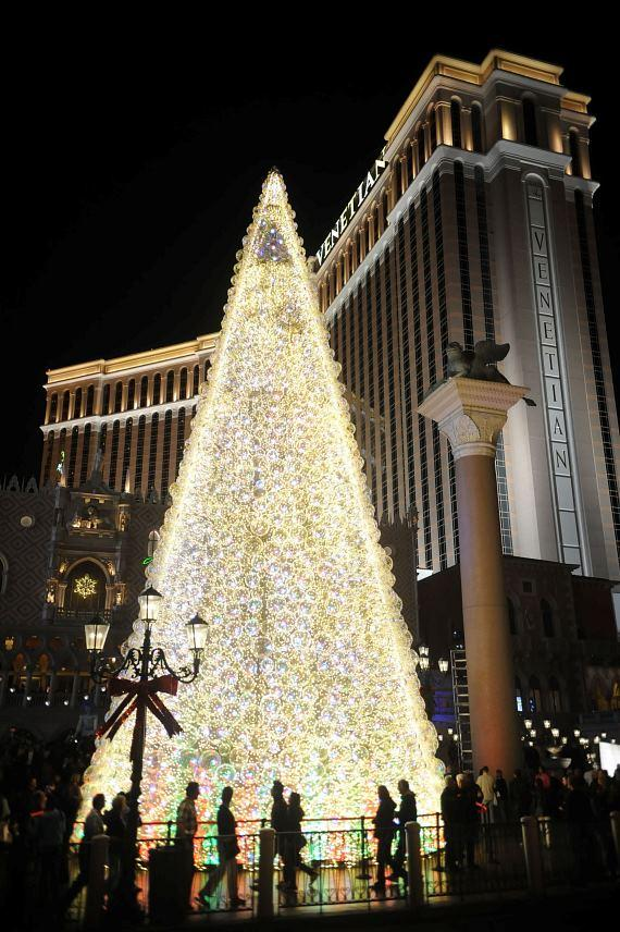 The 65-foot LED tree in front of The Venetian