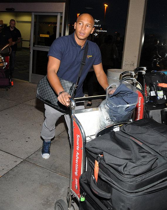 UK Boy Band JLS (former British X Factor stars) Arrive at McCarran International Airport in Las Vegas