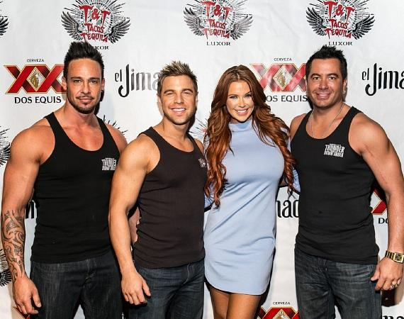Jessa Hinton with the cast of Thunder From Down Under