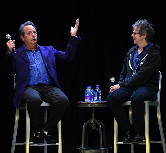 Jon Lovitz and Dana Carvey answer questions on stage at The Foundry at SLS Las Vegas