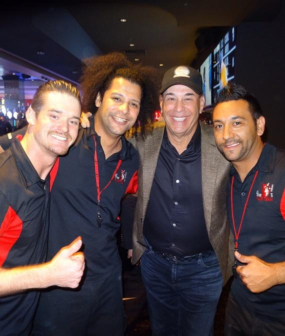 """Bar Rescue"" star Jon Taffer with Flair Bartenders at the LONGBAR inside the D Las Vegas"
