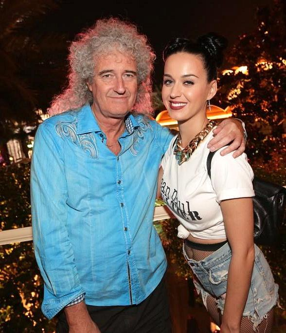 Katy Perry (R) and Brian May at Botero in Encore