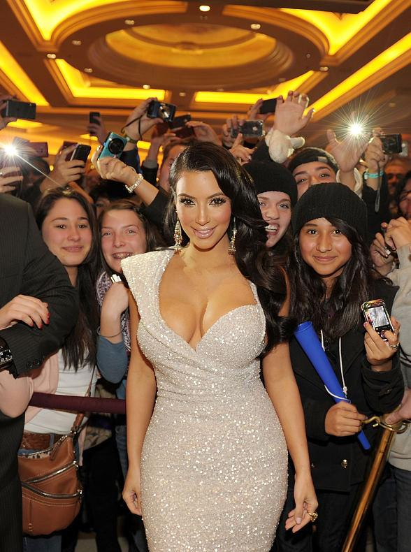 Kim Kardashian with fans at TAO Las Vegas