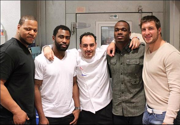 (L-R) Ndamukong Suh, Darrelle Revis, Chef Barry, Adrian Peterson, Tim Tebow