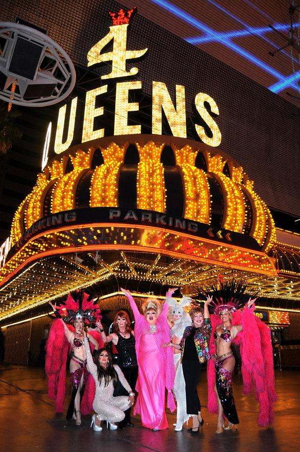 An Evening At La Cage cast in front of the Four Queens Hotel & Casino